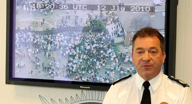 PSNI Chief Constable Matt Baggott holds a press conference at police headquarters Knock following last nights trouble at the Ardoyne shops in north Belfast after an Orange Order parade passed through the area