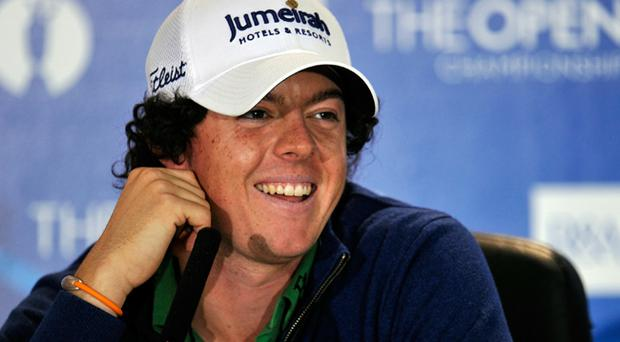 Rory McIlroy addresses the media during practice for the 139th Open Championship on the Old Course, St Andrews on July 13, 2010