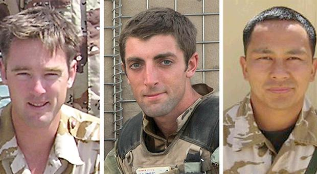 Neal Turkington (centre), James Bowman (left) and Arjun Purja Pun died in Afghanistan