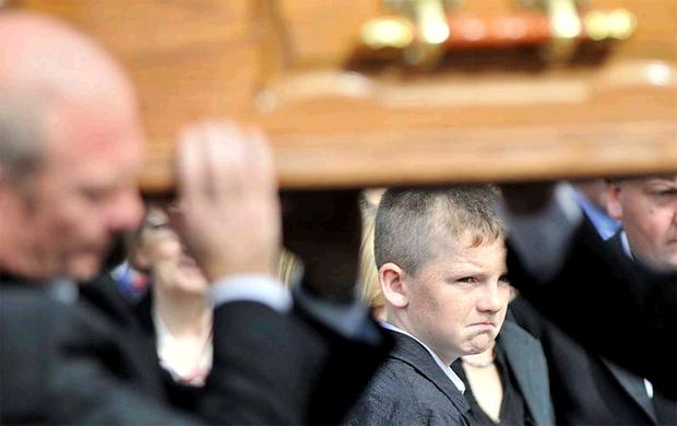 Gary Doherty at the funeral of his brother Paul at St Mary's Church, Clonmany, yesterday