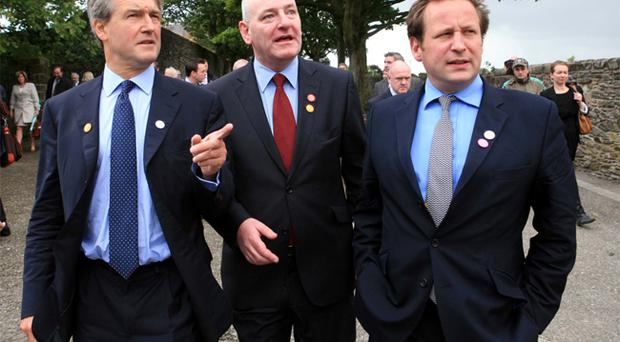 Secretary of State Owen Paterson, Mark Durkan MP, and Ed Vaizey, Minister for Culture, Communications and Creative Industries tour the City Walls during thier visit to Derry to celebrate the UK City of Culture 2013