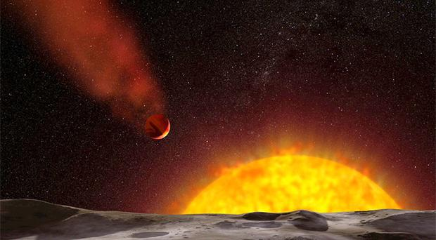 An artist's impression of HD 209458bm, a cometary planet discovered by Hubble space telescope scientists