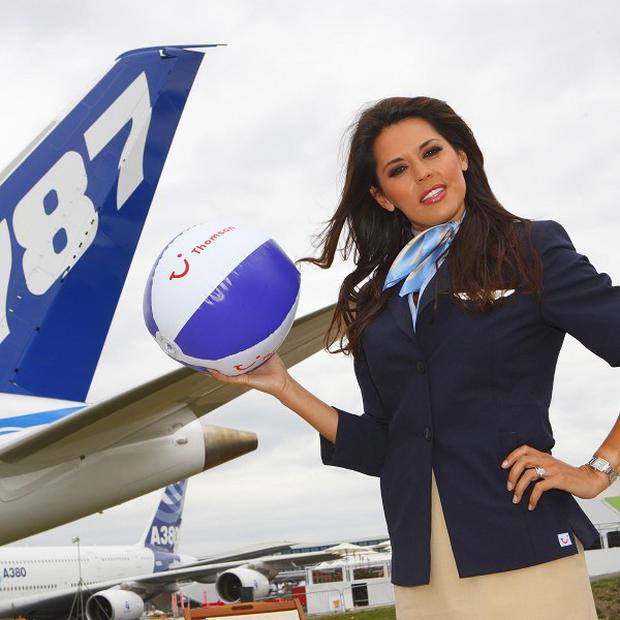 Former air stewardess Danielle Lineker, wife of former footballer Gary Lineker, poses with the new Boeing 787 Dreamliner