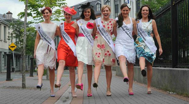 Six of the Rose of Tralee finalists which include the Belfast Rose Frances Rafferty (second from left) and Gemma Murphy from Newry ( third from right)