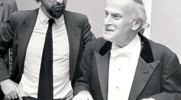 A way with words: Ian with violin virtuoso Yehudi Menuhin