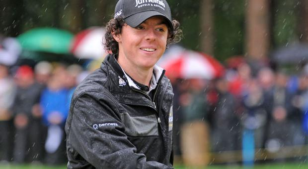Rory McIlroy, Darren Clarke, Padraig harrington and Shane Lowry braved the pouring rain to take part in the 2nd Lough Erne Golf Challenge outside Enniskillen