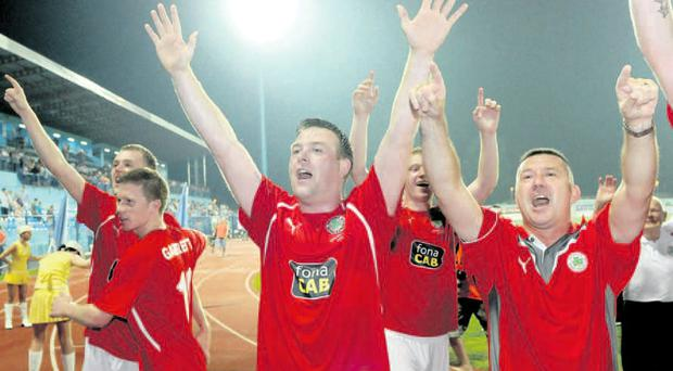 EURO STARS: Cliftonville milk the applause after a 0-0 draw with HNK Cibalia saw them through to the Europa League third qualifying round.