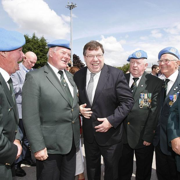 Taoiseach Brian Cowen meets veterans during a commemoration of the 50th anniversary of the first deployment of Irish peacekeepers to the Congo