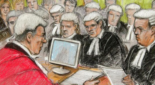 Court artist's impression of Jon Venables's appearance by videolink at the Old Bailey