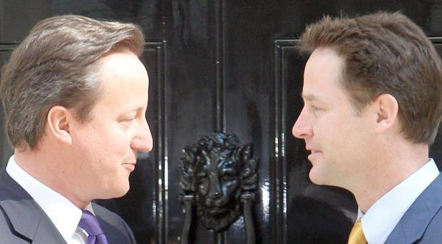 A scene from Westminster - Cameron and Clegg