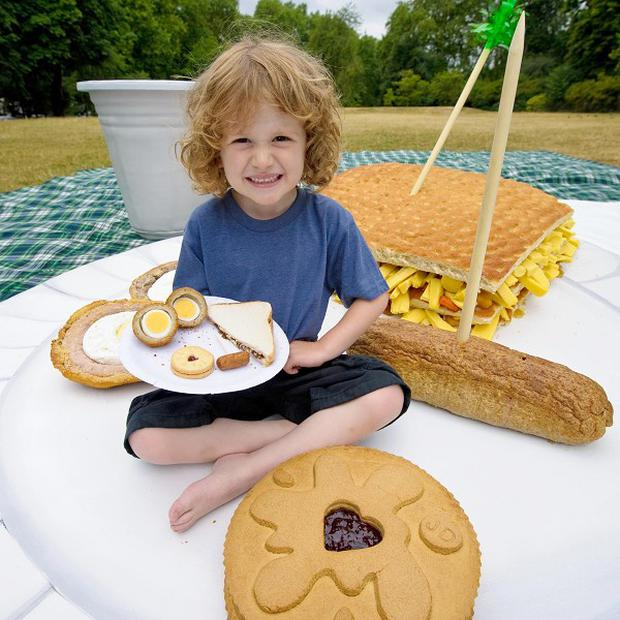 Five-year-old Alfie Powell with a giant picnic in London's Kensington Gardens