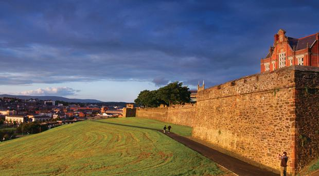The historic Walls of Derry are the largest ancient monument in state care in Northern Ireland