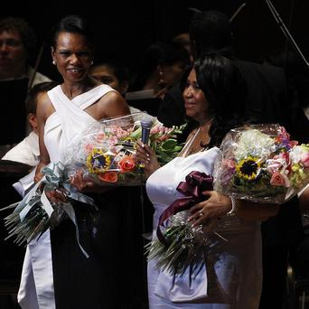 Condoleezza Rice and Aretha Franklin at The Mann Center for the Performing Arts in Philadelphia (AP)