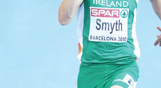 Jason competes in the mens 100m heat at the European Athletics Championships in Barcelona