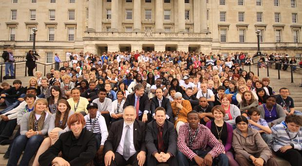 The young ones: Aaron Meredith, from south Belfast, addressed the 300 strong UK Youth Parliament at Stormont