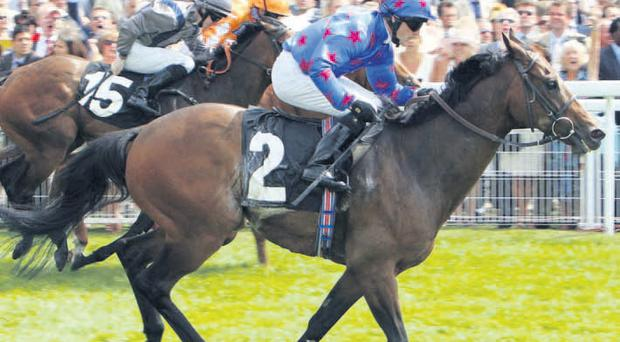 Special K: Kieren Fallon rides Borderlescott to victory in the Audi King George Stakes at Goodwood