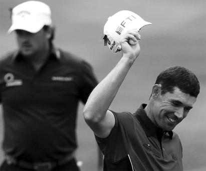 Mixed fortunes: Padraig Harrington had a great day while, (left) Graeme McDowell is out of contention at the Irish Open