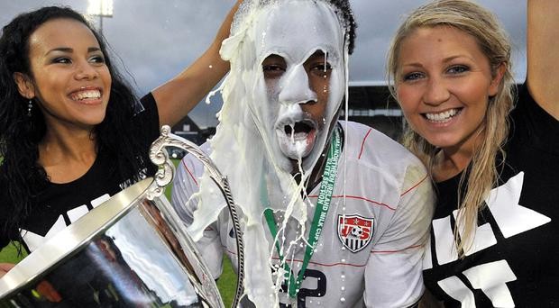 USA's Gale Agbossoumonde celebrates with Miss Northern Ireland Lorre Moore and Catherine Milligan