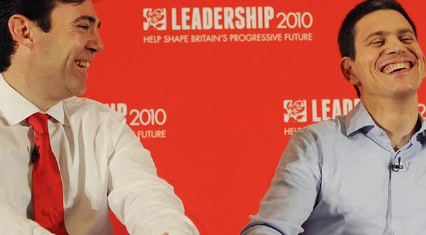 Andy Burnham and David Miliband during the final Labour Leadership hustings