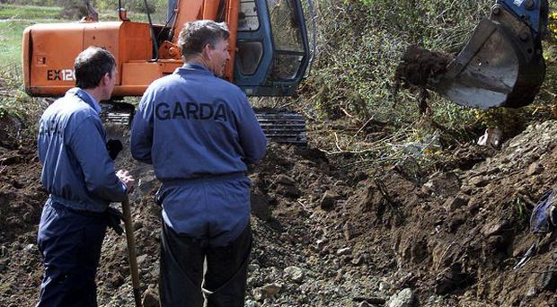 Irish police officers excavated a site in north Monaghan during a search for remains