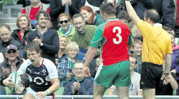 History: Craig Gilroy scores the first try at the Aviva Stadium