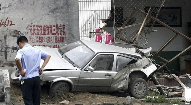 Damage left by a drunken tractor driver in Yuanshi county, in north China's Hebei province