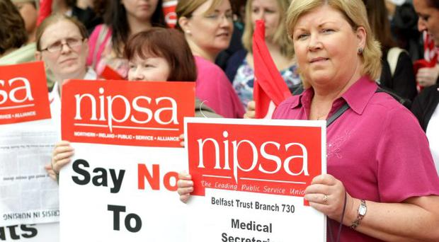 Medical Secretaries protest outside the Belfast City Hospital. August 2010