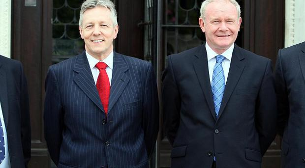 NI First Minister Peter Robinson with Deputy First Minister Martin McGuinness