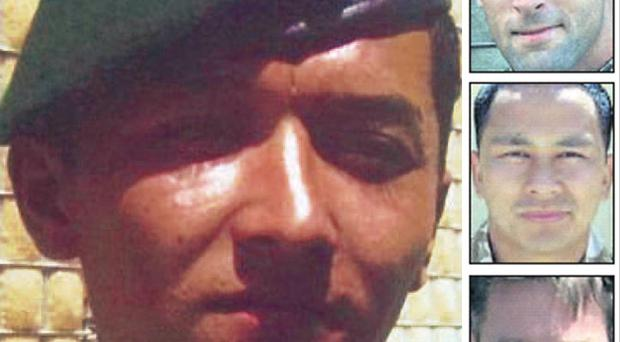 Talib Hussein (left) and his three victims (from top): Neal Turkington, Arjun Purja and James Bowmanby