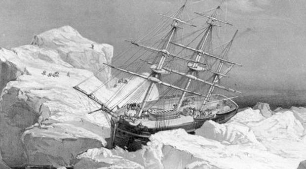 This 1851 illustration shows the HMS Investigator on the north coast of Baring Island in the Arctic.