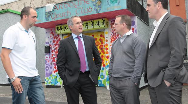 Concerns: Minister Alex Attwood at Ardoyne Youth Club with Thomas Turley, youth leader, Joe Marley, AYPF chairman, and Shane Whelehan, AYPF Director