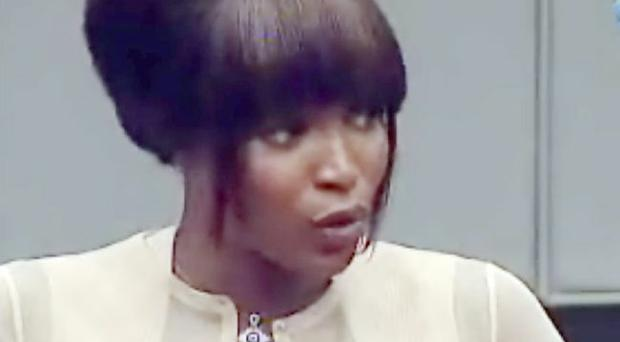 Naomi Campbell giving evidence to the war crimes trial of former Liberian leader Charles Taylor at the Special Court for Sierra Leone in The Hague.