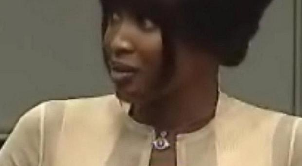 Video grab taken of Naomi Campbell giving evidence to the war crimes trial of former Liberian leader Charles Taylor