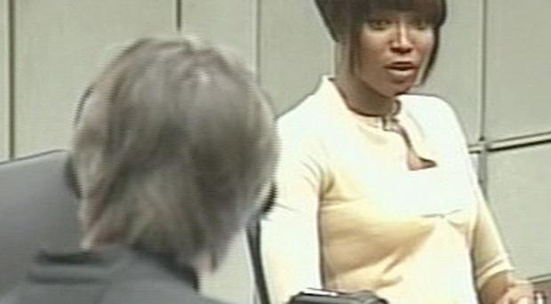 Naomi Campbell giving evidence at the war crimes trial of former Liberian ruler Charles Taylor (AP)