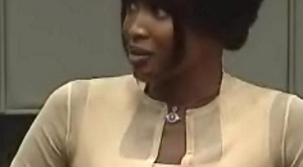Naomi Campbell has appeared at the war crimes trial in The Hague