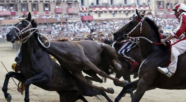 Horses collide and fall during the Palio, the famous break-neck bareback horse race around Piazza del Campo in Siena, Italy (AP)