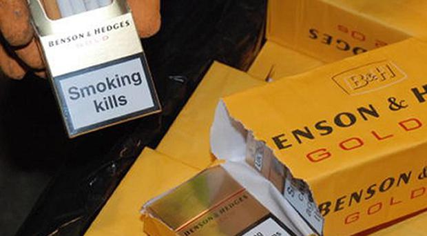 Part of a massive haul of black market cigarettes worth almost 4 million euro that was seized in Dublin Port