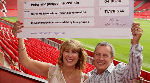 Unemployed Peter Redikin, 50, and his wife Jacqueline, 48, who won more than 11 million pounds