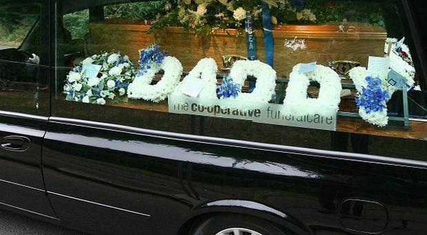 The coffin of Chris Brown who was shot dead by Raoul Moat arrives at Slough Crematorium, Berkshire
