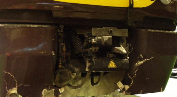 The damage caused to a CrossCountry train which hit debris placed on the line by Ashley Leedham and Richard Hamilton