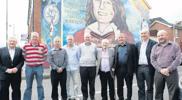 Left to right: Rev Harold Good, John Bunting, William 'Plum' Smith, Jackie McDonald, Martin McGuinness, Harry Thompson, Winston 'Winkie' Rea, Peter Sheridan, Brian Rowan