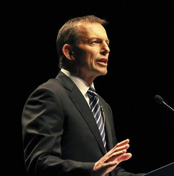 Australia's opposition leader Tony Abbott addresses a crowd in Brisbane (AP)