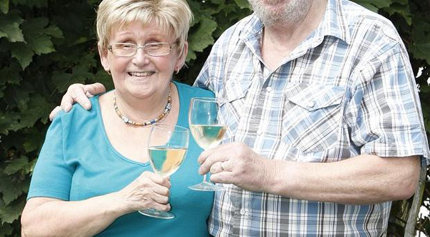 Pamela Mullins, who won £290,000 on the Magic Numbers TV show, and her husband Keith from Sheffield