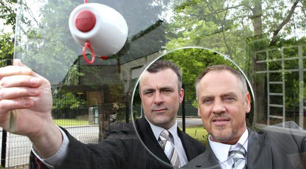 Firefly has invented a new product that will safely shatter double glazed windows in the event of a fire. From Firefly are Paul O'Hare, general manager, and Stephen Maher, director and inventor of the product