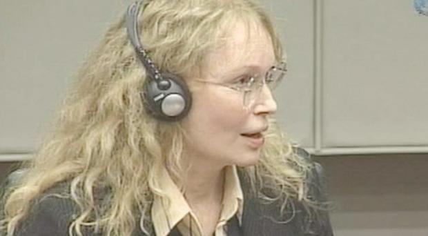 Actress Mia Farrow is seen in this image taken from TV at the U.N.-backed Special Court for Sierra Leone in Leidschendam