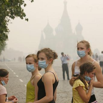 The death rate in Moscow has soared due to polluting smog (AP)
