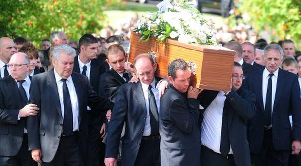 Pacemaker Press Belfast 9-08-2010: The funeral is taking place Aaron Victor Davidson of one of the Newtownabbey teenagers who died in a holiday flat after a suspected carbon monoxide leak.Aaron Davidson and Neil McFerran, both 18, died in Castlerock last Tuesday. Their friend, Matthew Gaw, survived.The funeral service for Aaron took place at The Church of the Ascension, Newtownabbey.Picture By: Arthur Allison.