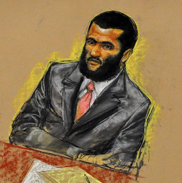 A court artist's sketch of former child soldier Omar Khadr