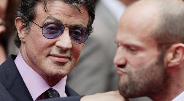 Sylvester Stallone (left) and Jason Statham arriving for the UK premiere of The Expendables