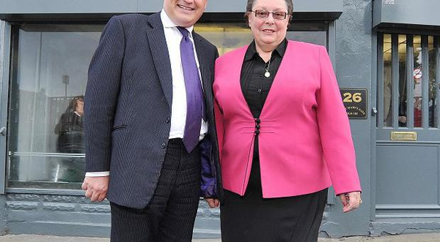 Gillian Duffy (right) opens the new office of Labour MP Simon Danczuk (left) in Rochdale